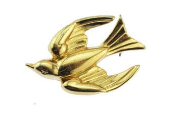 Coro Gold Bird Brooch, Coro Gold Bird Pin, Coro Gold Swallow Brooch, Coro Gold Swallow Pin
