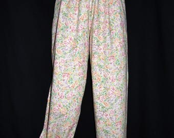 Laura Ashley vintage, meadow cotton lawn, summer trousers,  elasticated waist, size XL