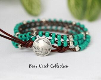 Turquoise Crochet Bracelet, Necklace, Buffalo Nickel, Boho, Western, Silver Glass Beads, Crochet Jewelry, Seed Bead Bracelet