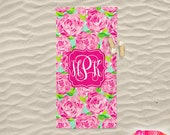 Monogrammed Lilly Pulitzer Inspired Beach Towel - First Impression