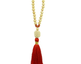 Bone Beads with Buddha Face Necklace