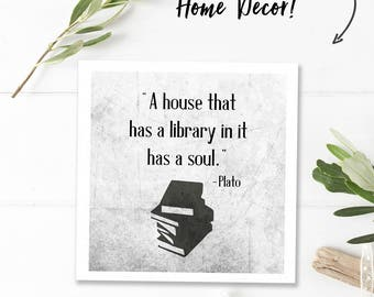 Gifts for book lover gift, printable word art print, digital download quote, library art, reader quote print, house that has a library in it