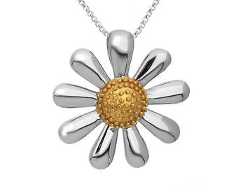 Silver Daisy Necklace, in 925 Silver with 18ct Gold Plated Centre, Small 20mm Size.