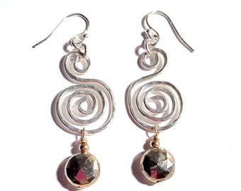 Hammered Sterling Silver Spiral and Gold Pyrite Earrings