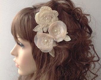 Ivory Bridal Comb Set, Bridal Comb Headpiece, Crystal Bridal Comb, Flower Wedding Comb, Wedding Hair Piece, Bridal Comb