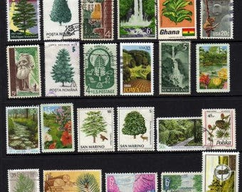 Tree Stamps,Trees, Botany Stamps, Postage Stamps, Green Stamps, Nature, Botanical Stamps, Stamps, Stamp Collection,Decoupage