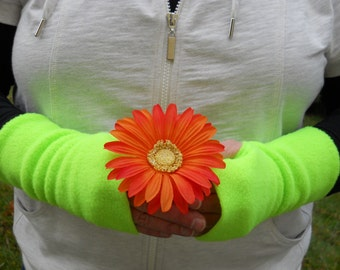 Cozy Fleece Hand Warmers / Lime Fleece Fingerless Gloves