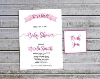 Girl Baby Shower Invitations Girl Baby Shower Invitation Baby Girl Shower Invitation Baby Shower Invites Pink (V25) - Free Thank You Card