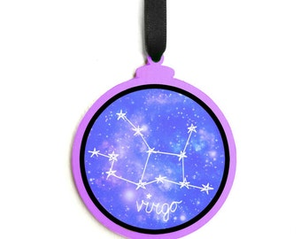 Purple Virgo Ornament with Galaxy Outer Space Virgo Constellation, Zodiac Sign Ornament, August September Gift Virgo Ornament Gift