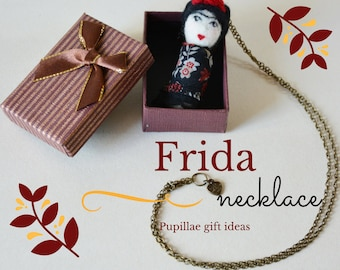 Frida Kahlo mini doll necklace is a folk art doll pendant,  is inspired by mexican painter, boho tiny matrioshka, for unconventional girls