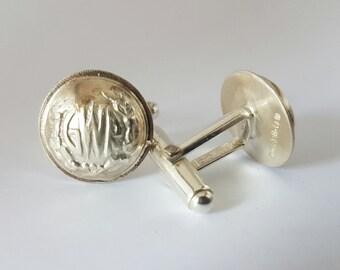 GWR silver cufflinks//Great Western Railway//Solid silver