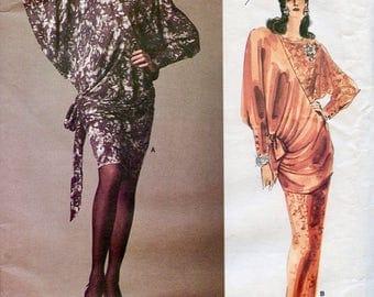 Vogue 1917 OnePiece COCKTAIL DRESS PATTERN Ruched Evening Gown Maxi Dress Emanuel Ungaro Paris Original UNCuT Womens Sewing Patterns Size 12