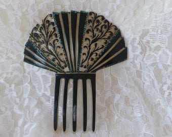 Hair Comb, Art Deco Hair Comb, Bridal Hair Comb, Vintage Hair Comb, Rhinestone Hair Comb, Celluloid Hair Comb, Hair Accessory, Hair Jewelry
