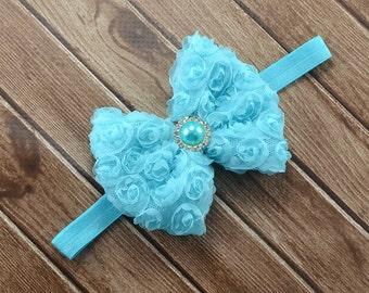 Aqua Bow Headband, Aqua Rosette Bow Headband, Aqua Flower Girl Headband, Aqua Headband, Aqua Hair Bow, Aqua Blue Bow Headband, Aqua Hair Bow