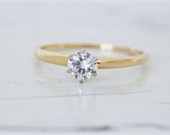 Antique Tiffany and Co Engagement Ring | 18k and Platinum Art Deco Ring | 1930s Engagement Ring | 0.42 Ct. Diamond Solitaire Ring |Size 7.25