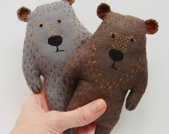 Bear kids gift, woodland toy animal, stuffed toy for kids, woodland baby shower, Christmas plush toy, forest animal plush, forest friends