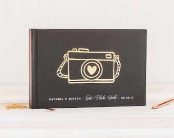 Wedding Photo Guest Book landscape wedding guestbook wedding photo book horizontal guest book Gold Foil wedding guest book photo guest book