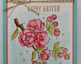 Watercolor Cherry Blossom Easter Card