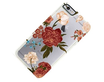 Japanese Garden Floral Flowers Clear Transparent Phone Case iPhone 5, SE iPhone 6 iphone 7, iPhone 6 Plus,iPhone 7 Plus,Galaxy S7 Note 5
