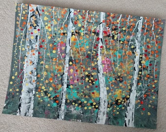 "Abstract Art Print  of Original Acrylic Painting Size 11""X15"" BIRCH TREES, Aspen"