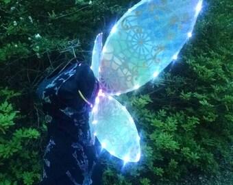Rainbow Light up LED Costume Fantasy Wings Adult size  Large