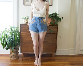 Vintage Floral Embroidered Denim Cut-Off Shorts
