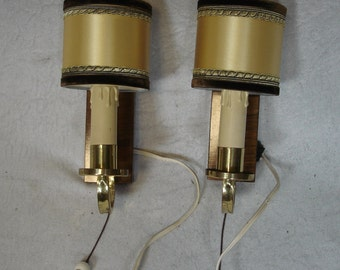 Pair of 40s 50s Wall Sconces, gold color shades, cottage style Germany