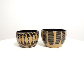 Black striped stoneware bowl