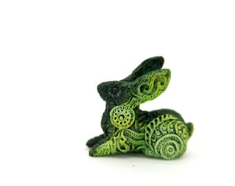 Moss Rabbit Hare Animal Totem Sculpture Rabbit Hare figurine fantasy creature