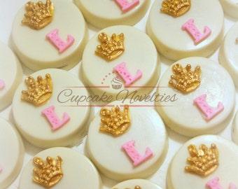 Princess Cookies Princess Birthday Pink and Gold First Birthday Pink and Gold Baby Shower Crown Tiara Cookies Monogram Princess Party Favors