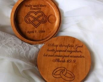 Ring Bearer Pillow Alternative - Wedding Ring Holder - Wedding Ring Box - Engraved Wedding Box - Cherry Wood Ring Box Infinity Heart