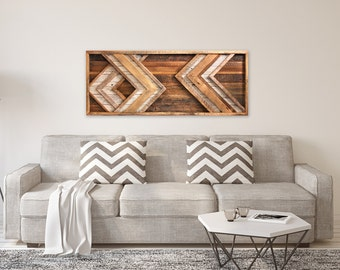 Large Reclaimed wood wall art - Chevron - Behind couch wall art - Barn Wood
