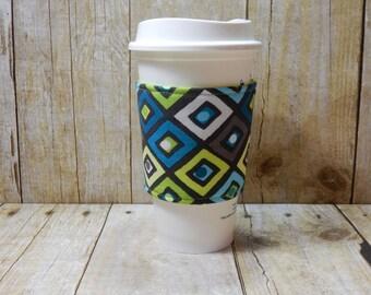Fabric Coffee Cozy / Dot in a Diamond Coffee Cozy / Diamond Coffee Cozy / Coffee Cozy / Tea Cozy