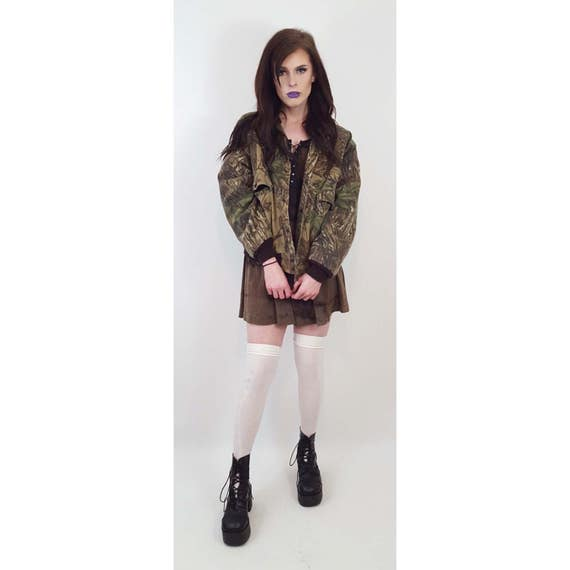 80s Vintage Camouflage Bomber Jacket Medium - Realtree Camo Tree Print Jacket - Quilted Lined Heavy Jacket Drab Outerwear Olive Green Brown