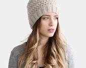 Crochet Womens Hat, Hand Knit Beanie in Oatmeal, Warm Wool Hat, Slouchy Beanie, Ivory Crochet Beanie, Pom Pom Stocking Cap
