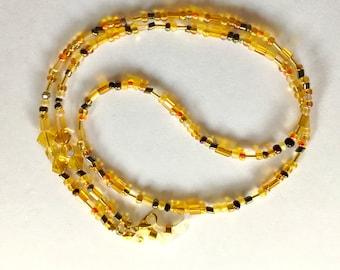 Eyeglass Chain, Czech Glass Golden Beaded Eyeglass Chain, Women's Beaded Eyeglass Chain, Women's Beaded  Eyeglass Holder