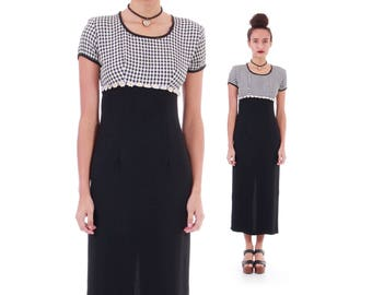 90s Vintage Daisy Checkered Dress Black and White Grunge Summer Clothing Women's Size Small