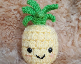 Mini Crochet Amigurumi Pineapple Plushie, Tropical Fruit Plushie