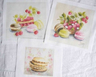 Shabby chic quilt panels, French pastries decorative fabric panels