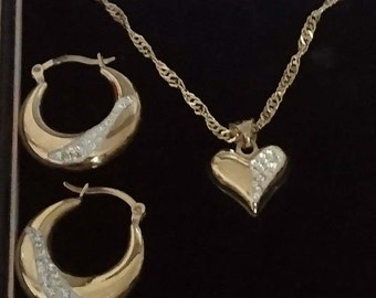Vintage sterling silver gilded necklace and earrings set