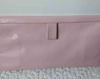 Vintage Pale Pink Clutch, 1950s Pink Purse, Pink Leather Clutch, Vintage Leather Clutch, Pink Evening Bag, Pale Pink 50's Clutch