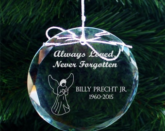 SHIPS FAST, Personalized Memorial Ornament, Engraved Crystal Christmas Ornament, Personalized Christmas Ornaments, Memorial Gift, COR002