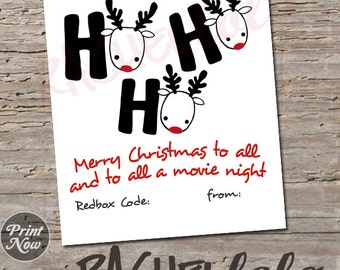 Redbox Code Gift Tag, ho ho ho, digital, instant download