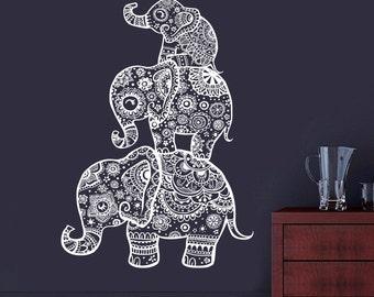 Elephant Wall Decal Family Decals Indian Boho Bedding Home Nursery Yoga Studio Decor Bedroom Dorm Vinyl Sticker AL4