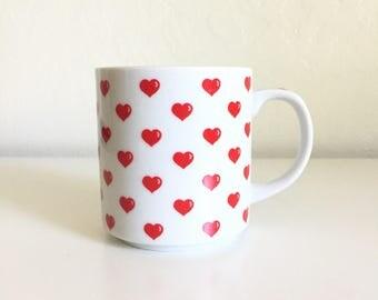Vintage Hearts Mug / Valentines Day Mug / Love Mug