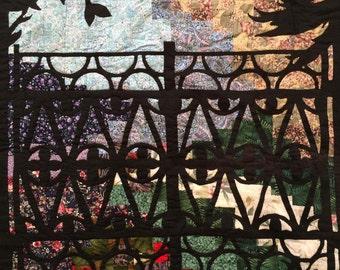 Reverse applique garden quilt