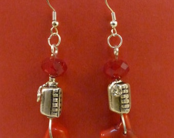 Branched Red Coral and Ruby Glass on Sterling Silver Earrings