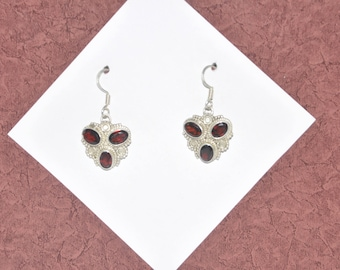 Sterling Silver and Garnet Earrings #G12a