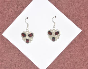 Sterling Silver and Garnet Earrings #G12a