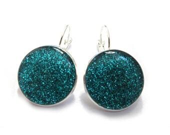 TURQUOISE GLITTER EARRINGS - Blue glitter earrings - dangle earrings - sparkly jewelry - silver earrings - resin - glitter jewelry - blue
